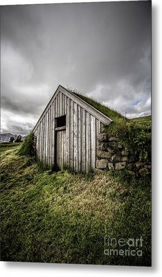 Old Traditional Sod Barn Iceland Metal Print