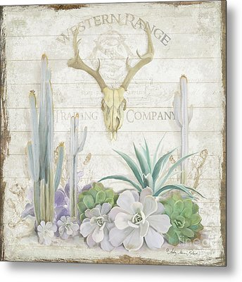 Metal Print featuring the painting Old West Cactus Garden W Deer Skull N Succulents Over Wood by Audrey Jeanne Roberts