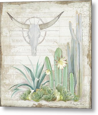 Metal Print featuring the painting Old West Cactus Garden W Longhorn Cow Skull N Succulents Over Wood by Audrey Jeanne Roberts