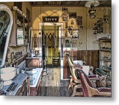 Old West Victorian Barber Shop Interior - Montana Territory Metal Print by Daniel Hagerman