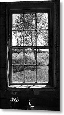 Old Window Bw Metal Print