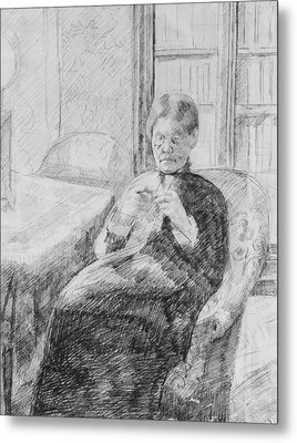 Old Woman Knitting Metal Print by Mary Cassatt
