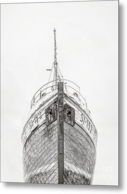 Metal Print featuring the photograph Old Wooden Fishing Boat In The Fog Iceland by Edward Fielding
