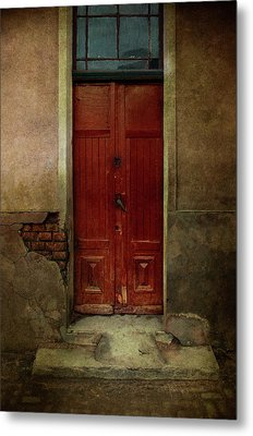 Old Wooden Gate Painted In Red  Metal Print
