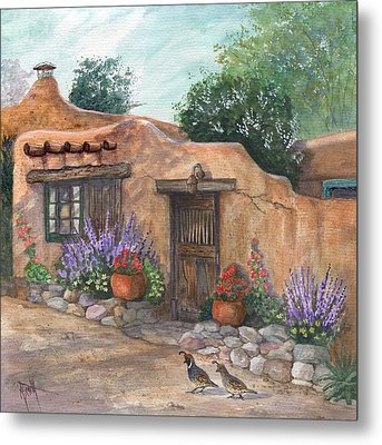 Old Adobe Cottage Metal Print by Marilyn Smith