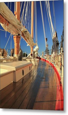 Metal Print featuring the photograph On Deck Of The Schooner Eastwind by Roupen  Baker