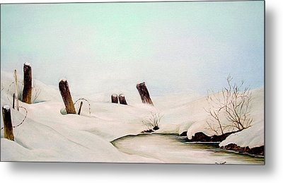 Metal Print featuring the painting On Frozen Pond by Anna-maria Dickinson