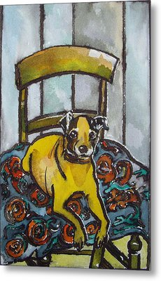 On His Masters Chair Metal Print by Victoria Glover