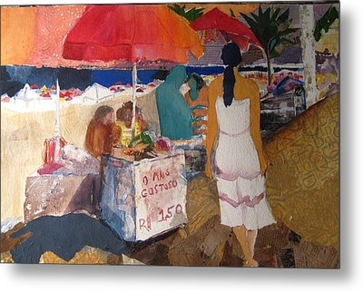 On The Beach In Rio Metal Print by Carole Johnson