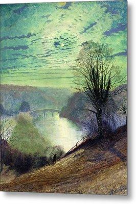 On The Tees Near Barnard Castle Metal Print by John Atkinson Grimshaw