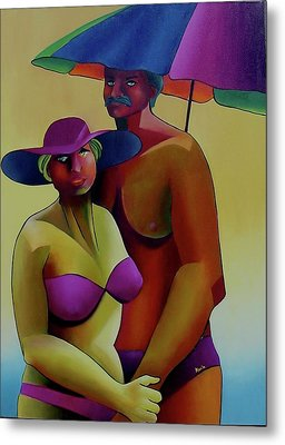 Metal Print featuring the painting On Vacation by Karin Eisermann