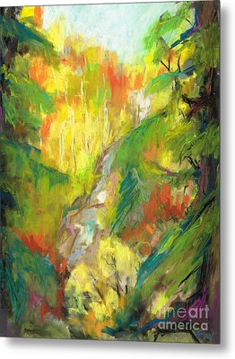 Metal Print featuring the painting Once A Waterfalls by Frances Marino