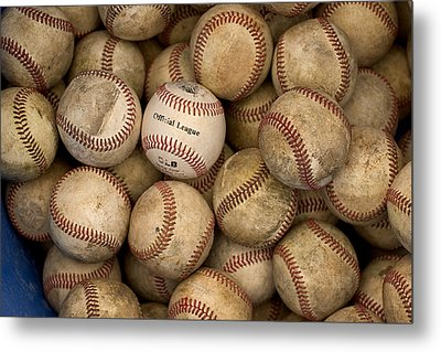 One Clean Baseball Sitting In A Pile Metal Print by Phil Schermeister