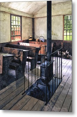 One Room Schoolhouse With Stove Metal Print