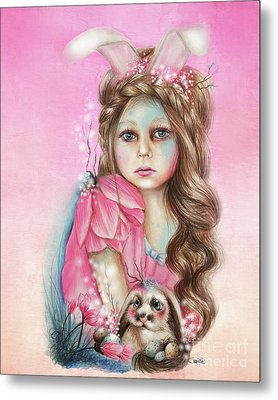 Metal Print featuring the mixed media Only Friend In The World - Bunny by Sheena Pike