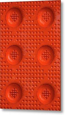 Orange Dots Industrial Portrait Metal Print