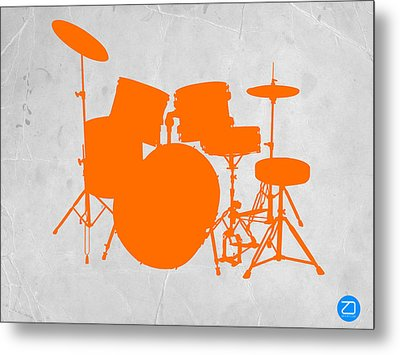 Orange Drum Set Metal Print by Naxart Studio