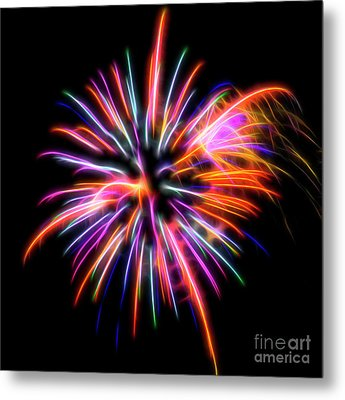 Metal Print featuring the photograph Orange Fireworks by Yulia Kazansky