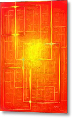 Orange Geometry - Da Metal Print by Leonardo Digenio