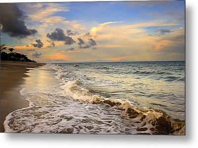 Orange Glowing In The Pacific Ocean Metal Print by Iris Greenwell