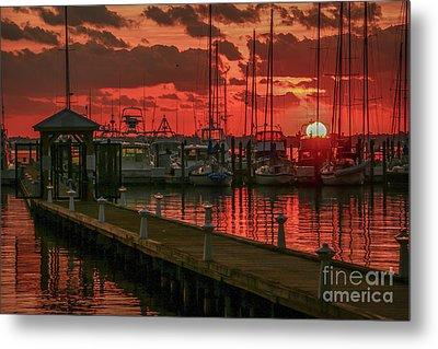 Orange Marina Sunrise Metal Print by Tom Claud