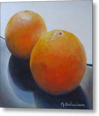Orange Noir Et Blanc Metal Print by Muriel Dolemieux