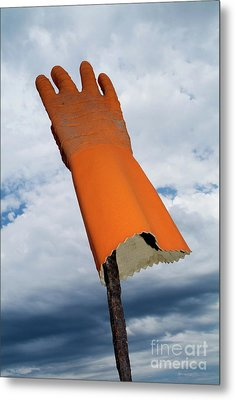 Orange Rubber Glove On A Wooden Post Against A Cloudy Sky Metal Print by Sami Sarkis