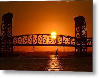 Metal Print featuring the photograph Orange Sunset Brooklyn Bridges Sailboat by Maureen E Ritter