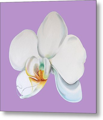 Metal Print featuring the digital art Orchid On Lilac by Elizabeth Lock