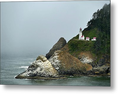 Oregon Coast Hecta Head Light Metal Print