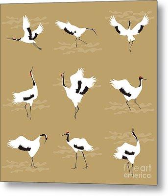Oriental Cranes Metal Print