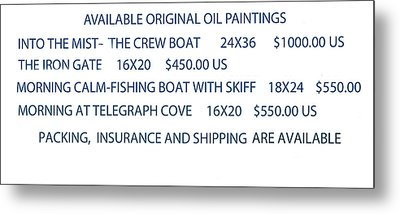 Metal Print featuring the painting Original Oil Painting Availability List by Gary Giacomelli