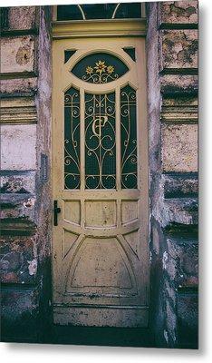 Ornamented Doors In Light Brown Color Metal Print