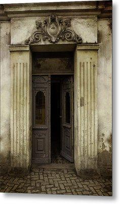 Ornamented Gate In Dark Brown Color Metal Print
