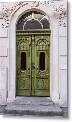 Ornamented Gates In Olive Colors Metal Print