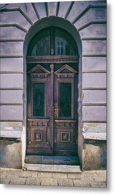 Ornamented Wooden Gate In Violet Tones Metal Print