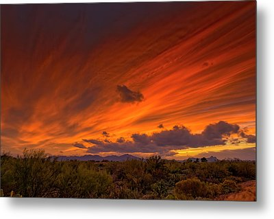 Metal Print featuring the photograph Oro Valley Sunset H6 by Mark Myhaver
