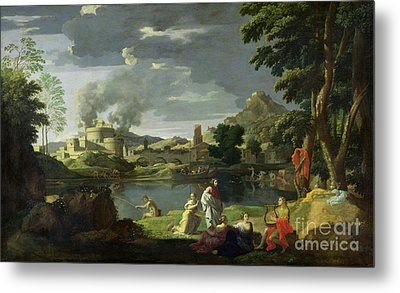 Orpheus And Eurydice Metal Print by Nicolas Poussin