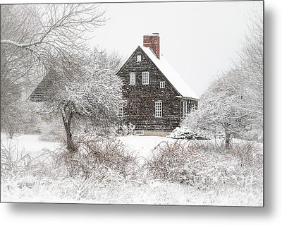 Orrs Island Home In A Snow Storm Metal Print by Benjamin Williamson