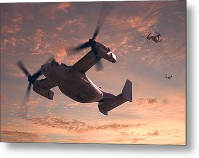 Ospreys In Flight Metal Print by Mike McGlothlen