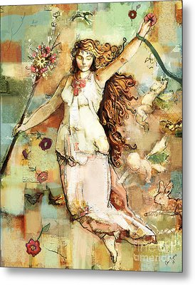 Metal Print featuring the mixed media Ostara by Carrie Joy Byrnes