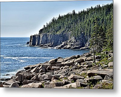 Otter Cliffs In Acadia National Park - Maine Metal Print by Brendan Reals