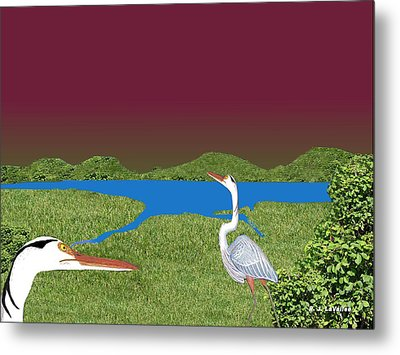 Our Blue Herons Metal Print