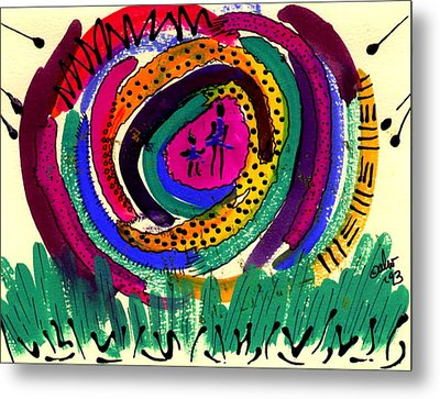 Metal Print featuring the mixed media Our Own Colorful World I by Angela L Walker