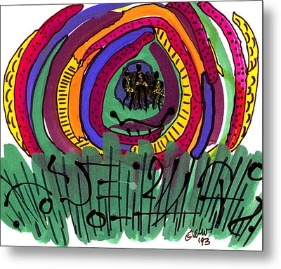 Metal Print featuring the mixed media Our Own Colorful World II by Angela L Walker