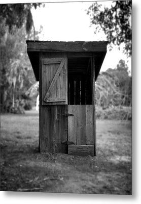 Out House In Black And White Metal Print by Rebecca Brittain