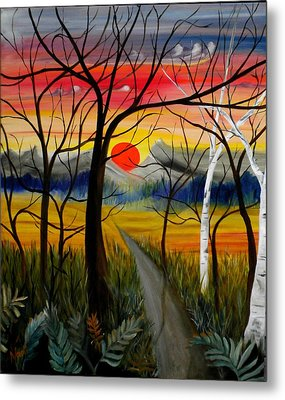 Metal Print featuring the painting Out Of The Woods by Renate Nadi Wesley
