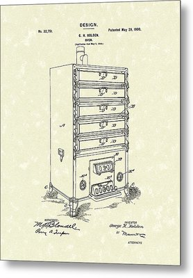 Oven Design 1900 Patent Art Metal Print