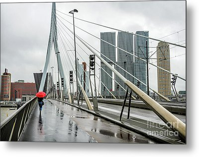 Metal Print featuring the photograph Over The Erasmus Bridge In Rotterdam With Red Umbrella by RicardMN Photography