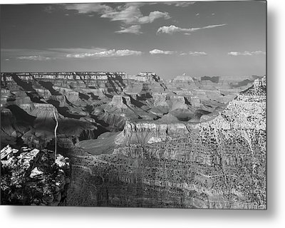 Overlooking Grand Canyon - Black And White  Metal Print by Gregory Ballos